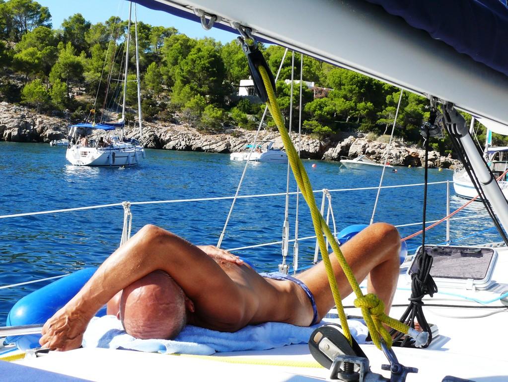 Auch der Skipper findet Ruhe.